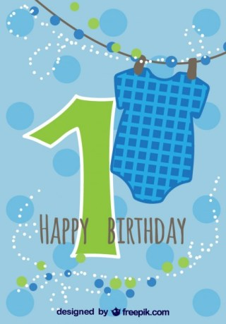 Baby Card First Birthday Free Vector