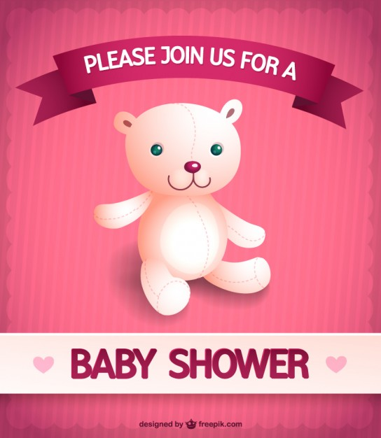 Baby Girl Shower Invitation Free Vector