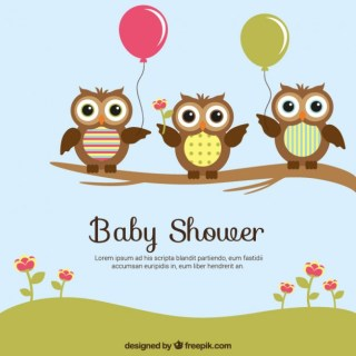 Baby Shower Card with Cute Owls Free Vector