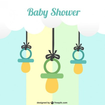 Baby Shower Card with Dummies Free Vector