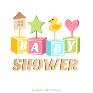 Baby Shower Card with Wooden Toys Free Vector