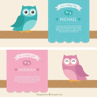 Baby Shower Cards for Boy and Girl Free Vector