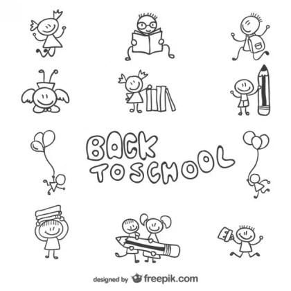 Back To School Children Doodle Graphics Free Vector