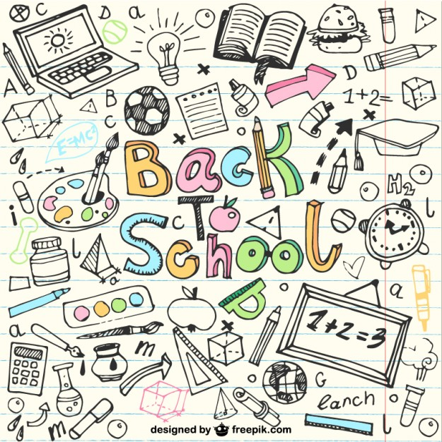 Back To School Sketches in Notebook Free Vector