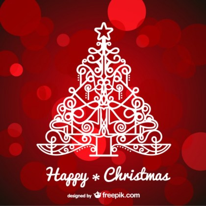 Background with Artistic Christmas Tree Free Vector
