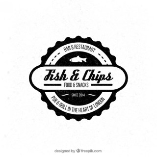 Badge of Fish and Chips Resturant Free Vector
