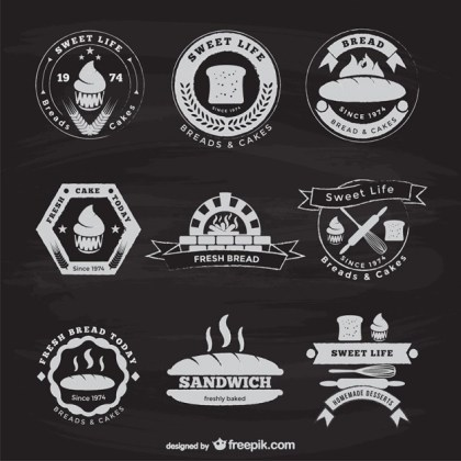 Bakery and Bread Vintage Stickers Free Vector