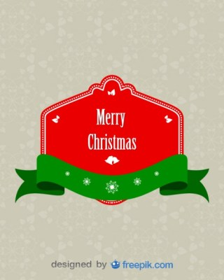 Banner Merry Christmas with Green Ribbon on The Bottom Free Vector