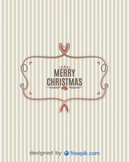 Banner Merry Christmas with Striped Background Free Vector
