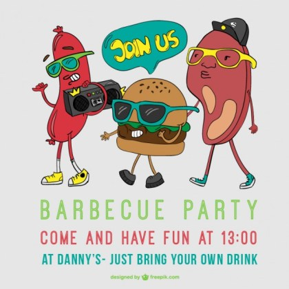 Barbecue Party Poster Cartoon Free Vector