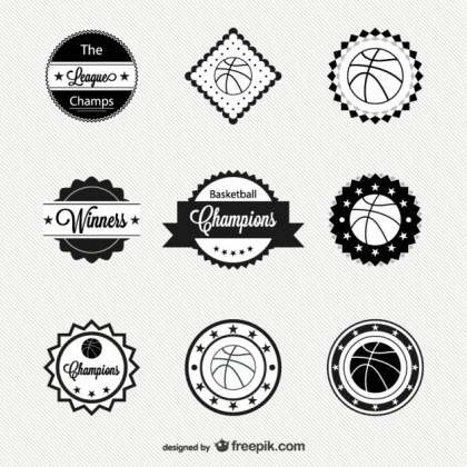 Basketball Badges Free Vector