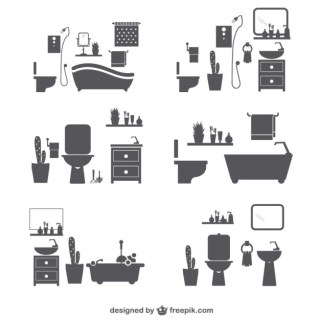 Bathroom Silhouette Icons Free Vector