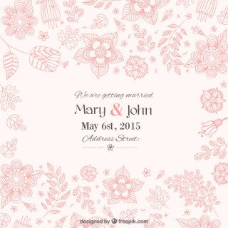 Beautiful Floral Wedding Invitation Free Vector