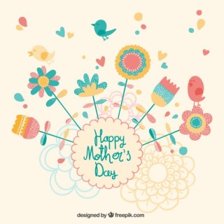 Beautiful Mothers Day Card Free Vector