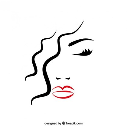 Beautiful Womans Face with Closed Eyes Free Vector