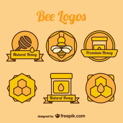 Bee and Honey Color Logos Collection Free Vector