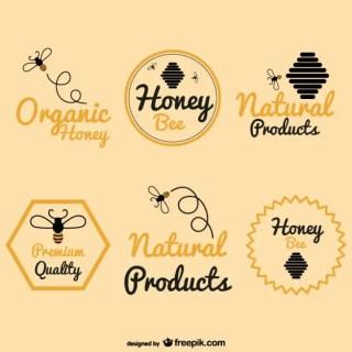 Bee Honey Logos Pack Free Vector