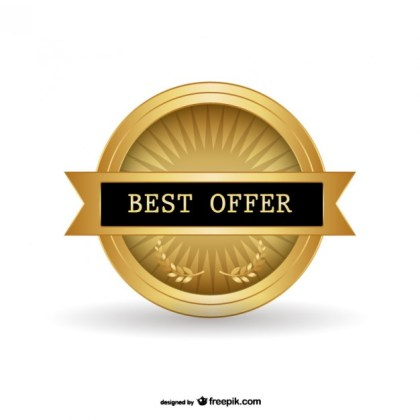 Best Offer Golden Badge Free Vector