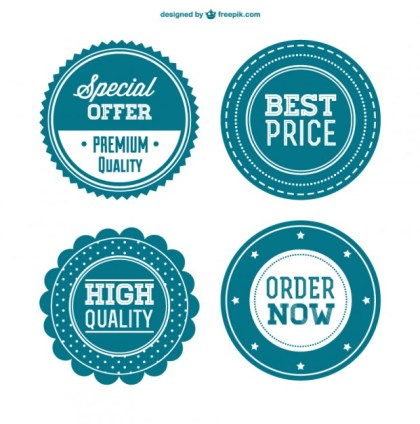 Best Price Retro Badges Free Vector