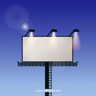 Billboard with Spotlights and Sky Free Vector