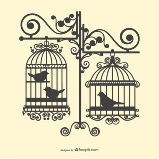 Birdcages Silhouettes Free Vector