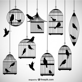 Birdcages Silhouettes Pack Free Vector