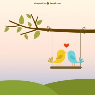 Birds in Love Free Vector