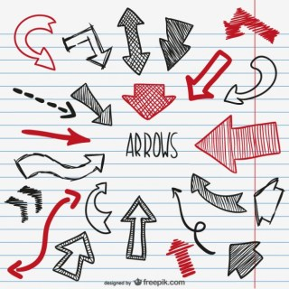 Black and Red Sketchy Arrows Free Vector