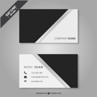 Black and White Business Card Free Vector