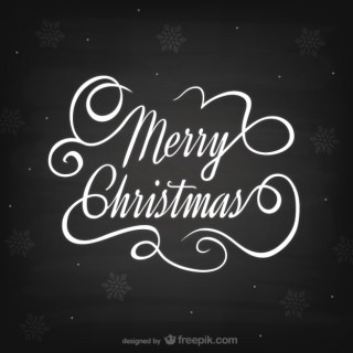 Black and White Christmas Lettering Free Vector