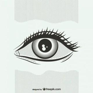Black and White Eye Illustration Free Vector