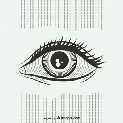 Black and White Eye Illustration Free Vector