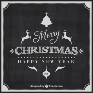 Black and White Merry Christmas Card Free Vector