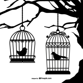 Black Birdcages Silhouettes Free Vector