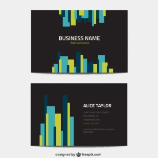 Black Business Card with Colorful Lines Free Vector