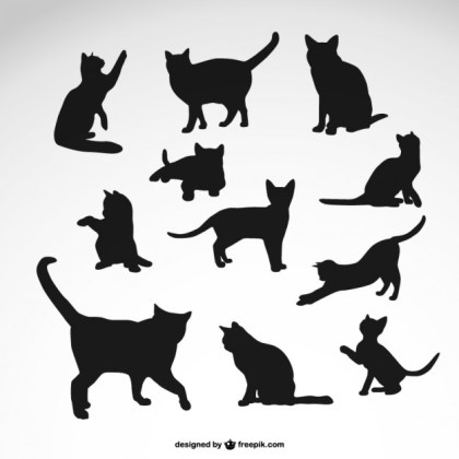 Black Cat Silhouettes Set Free Vector