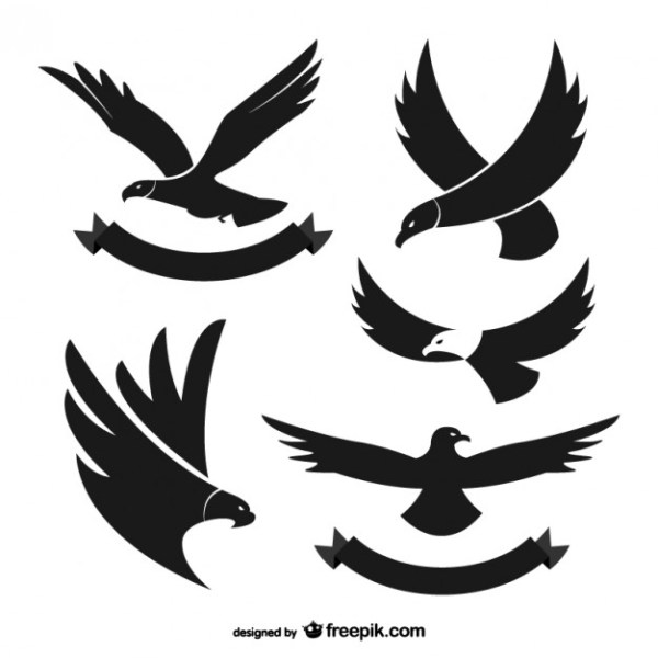 Black Eagle Silhouettes Free Vector