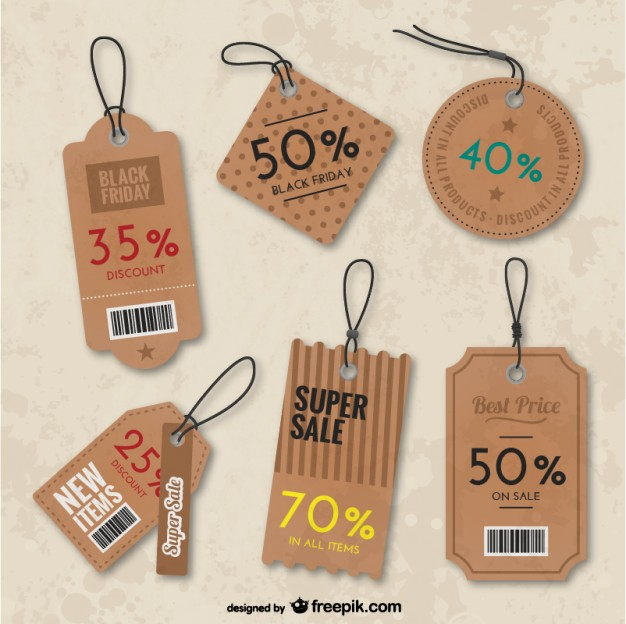 Black Friday Tags Pack Free Vector