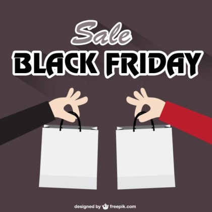 Black Friday with Shopping Bags Free Vector