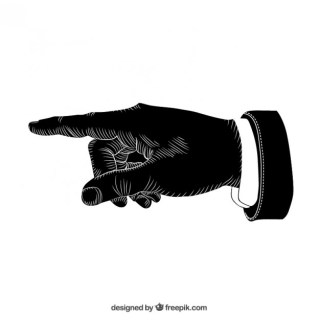 Black Pointing Hand Free Vector