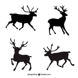 Black Reindeer Silhouettes Free Vector