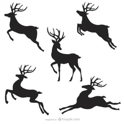 Black Reindeer Silhouettes Pack Free Vector