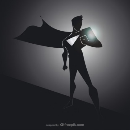 Black Superhero Silhouette Free Vector
