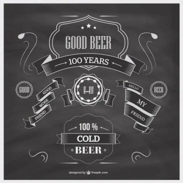 Blackboard Beer Template Free Vector