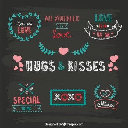 Blackboard Drawn Valentine Ornaments Free Vector
