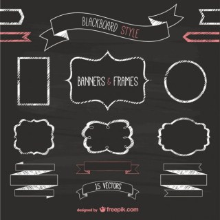Blackboard Style Banners and Frames Free Vector