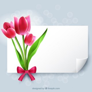 Blank Paper with Flowers Free Vector