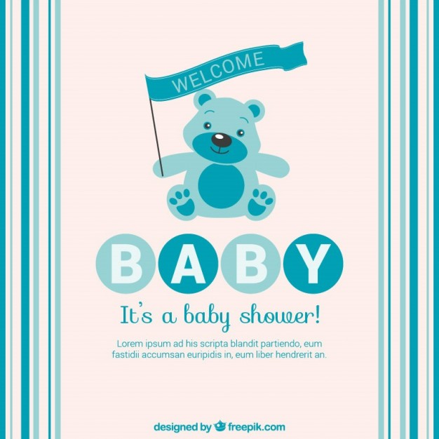 Blue Baby Shower Card with Teddy Bear Free Vector