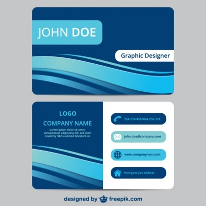Blue Business Card Template Free Vector