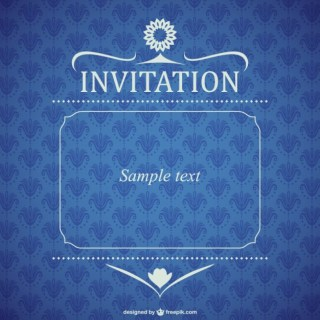 Blue Floral Invitation Free Vector